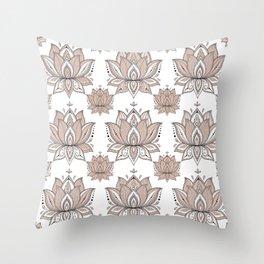 Lotus Mandala Doodle Pink Marble Pattern Throw Pillow