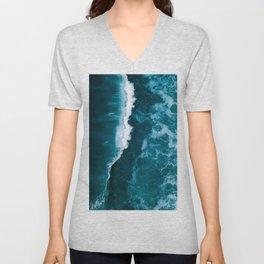 Wild Blue Ocean Wave – Oceanscape Photography Unisex V-Neck