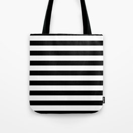 Midnight Black and White Stripes Tote Bag