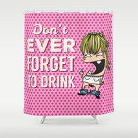 drunk Shower Curtains featuring DRUNK GIRL by flydesign