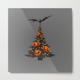 Halloween Christmas Tree - Gray Metal Print