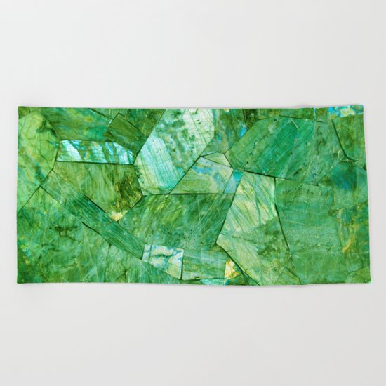 Labradorite Green Beach Towel