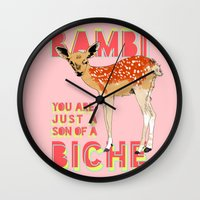 bambi Wall Clocks featuring Bambi by la belette rose
