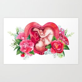 Watercolor fetus inside the womb Art Print