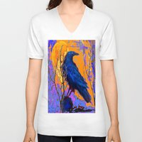blankets V-neck T-shirts featuring Blue Raven Orange Moon Night Art by SharlesArt
