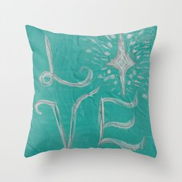 Teal Love Star Throw Pillow