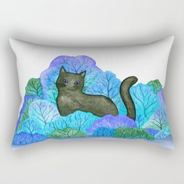 Blue Forest and Black Cat Watercolor Rectangular Pillow