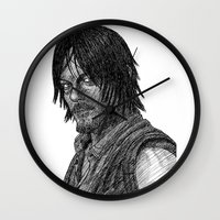 daryl dixon Wall Clocks featuring Daryl Dixon by Jack Kershaw