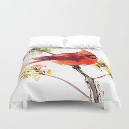 Cardinal Bird in Spring Duvet Cover