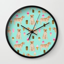 yellow lab ice cream cute funny dog breed pet pattern labrador retriever Wall Clock