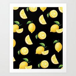 Lemons on Black Art Print