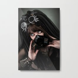 Cybergoth cyber girl black gas mask Metal Print
