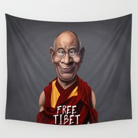 lama Wall Tapestries featuring Celebrity Sunday ~ Dalai Lama (FREE TIBET SPECIAL) by rob art | illustration