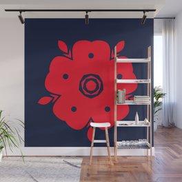 Japanese Samurai flower red pattern Wall Mural