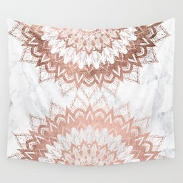 Modern chic rose gold floral mandala illustration on trendy white marble Wall Tapestry