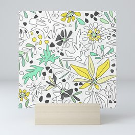 Retro flower pattern 2 Mini Art Print