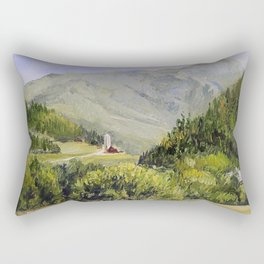 Pastures and Mount Mansfield Oil Landscape Vermont Painting Rectangular Pillow