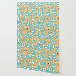 pattern funny golden beige dog and white bones, Kawaii face with large eyes and pink cheeks Wallpaper