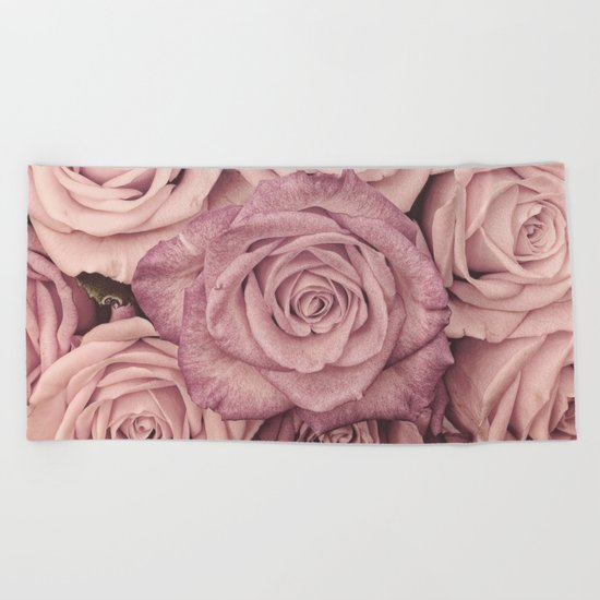 Some people grumble - Pink rose pattern- roses Beach Towel