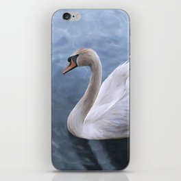 Drawing swan on blue lake water iPhone Skin