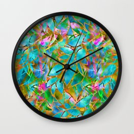 Floral Abstract Stained Glass G265 Wall Clock