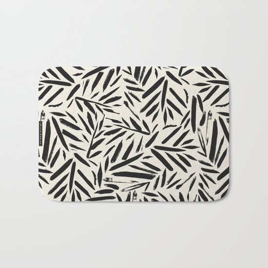 Not So Black and white leaves Bath Mat