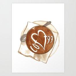 Coffee Love Latte Art Art Print