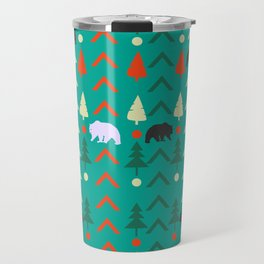 Winter bear pattern in green Travel Mug