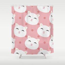 Cute white cat Shower Curtain