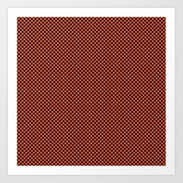 Small Living Coral Color of the Year in Coral Orange and Black Checkerboard Art Print