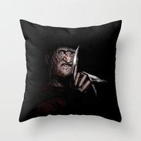 freddy krueger Throw Pillows featuring FREDDY KRUEGER! by John Medbury (LAZY J Studios)