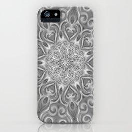 Gray Center Swirl Mandala iPhone Case