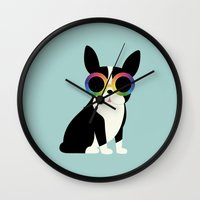 work hard Wall Clocks featuring Work Hard Play Harder by Andy Westface