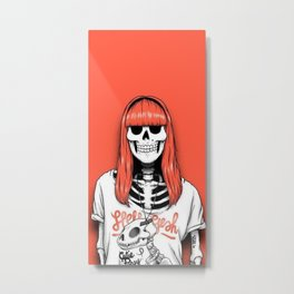 hipster skeleton girl Metal Print