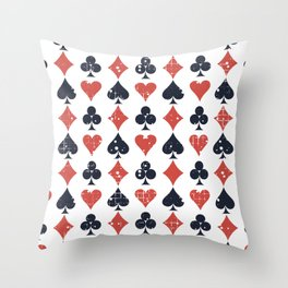 Icons of playing cards pattern Throw Pillow