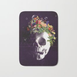 Skull with flowers no1 Bath Mat
