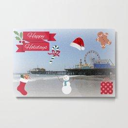 Happy Holidays from Santa Monica Pier Metal Print