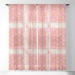 Pink eclipse pattern Sheer Curtain