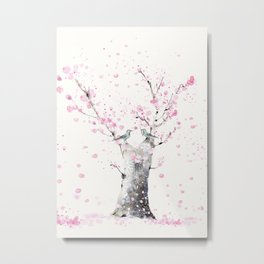 Cherry Blossoms And Birds Metal Print