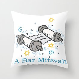 Bar Mitzvah with scroll Throw Pillow