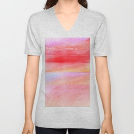 Seascape in Red, Yellow and Pink Unisex V-Neck