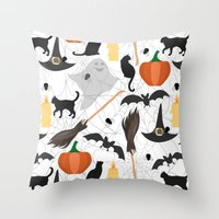 halloween Throw Pillows featuring Halloween by Julia Badeeva
