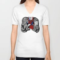 lungs V-neck T-shirts featuring Heart&Lungs by Emma J. Hardy