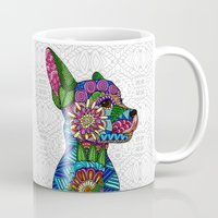 folk Mugs featuring Folk Art Puppy by ArtLovePassion