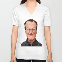 tarantino V-neck T-shirts featuring Celebrity Sunday ~ Quentin Tarantino by rob art | illustration