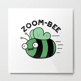 Zoom-bee Cute Halloween Zombie Bee Pun Metal Print