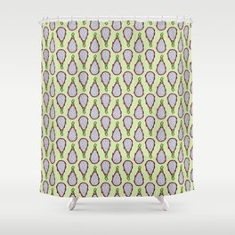 Dragonfruit - Lime Green Doodle Pattern Shower Curtain