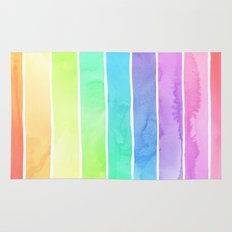 Watercolor Rainbow Stripes in Ombre Summer Pastels Rug