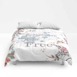 Boho stylish design. All good things are free and wild Comforters