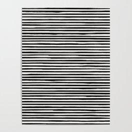 Skinny Stroke Horizontal Black on Off White Poster